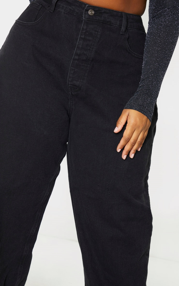 PRETTYLITTLETHING Plus Washed Black Boyfriend Jean 5