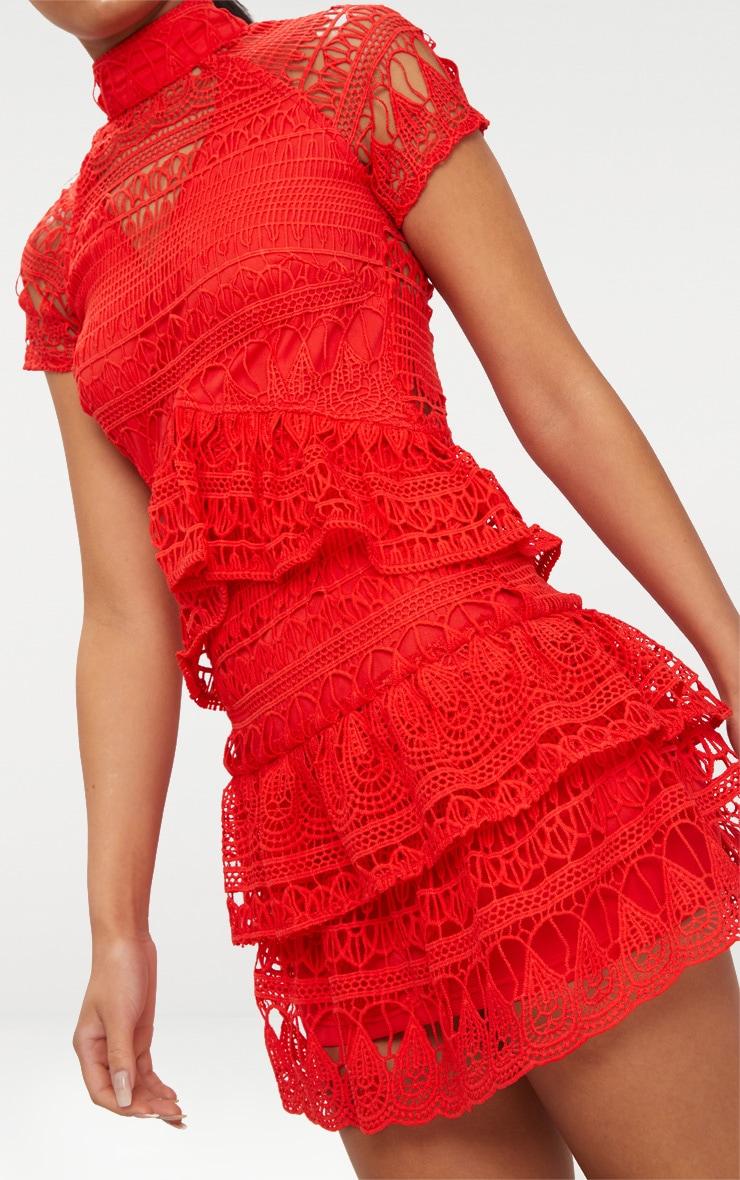 Red Crochet High Neck Frill Skater Dress 4