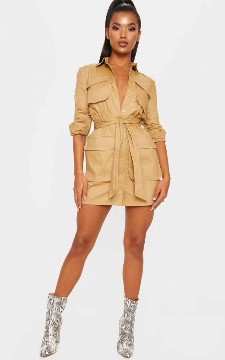 Camel Utility Tie Waist Shirt Dress 4