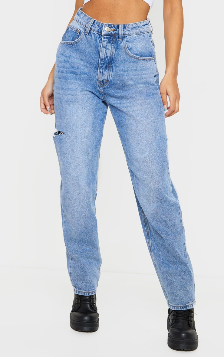 Mid Wash Thigh Split Baggy Boyfriend Jeans 2