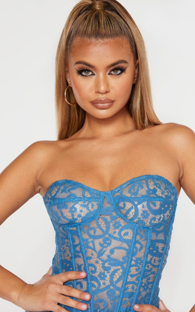 Petrol Blue Sheer Lace Structured Corset Top 5