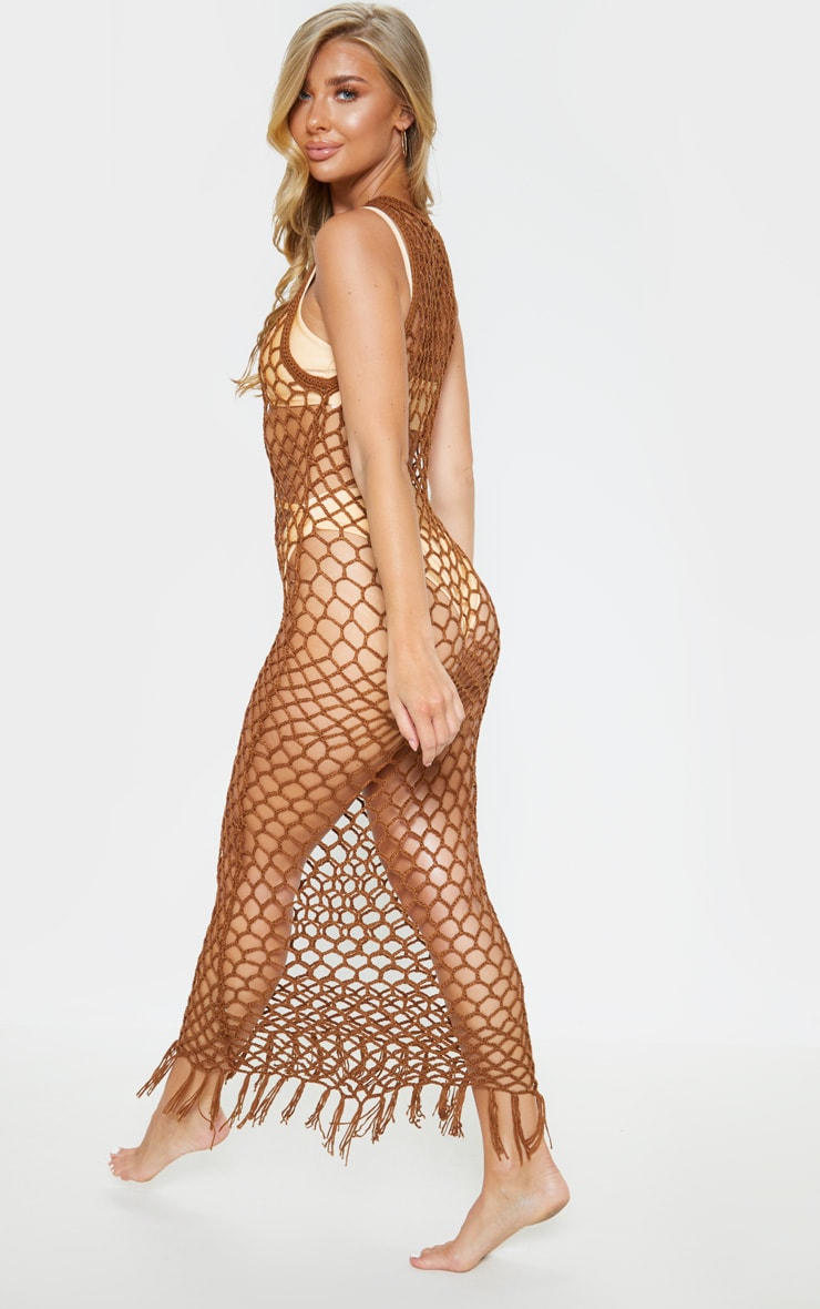Chocolate Fringe Hem Crochet Maxi Dress 2