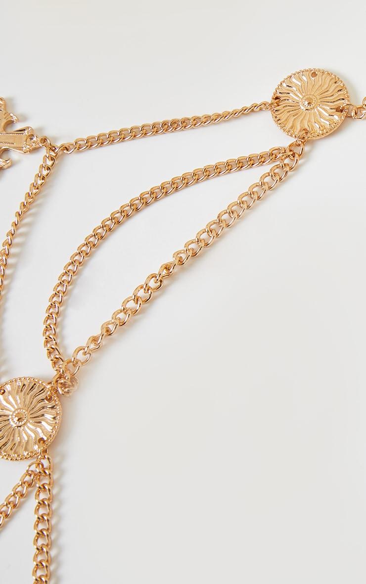 Gold Cross Pendant Drop Chain Belt 3