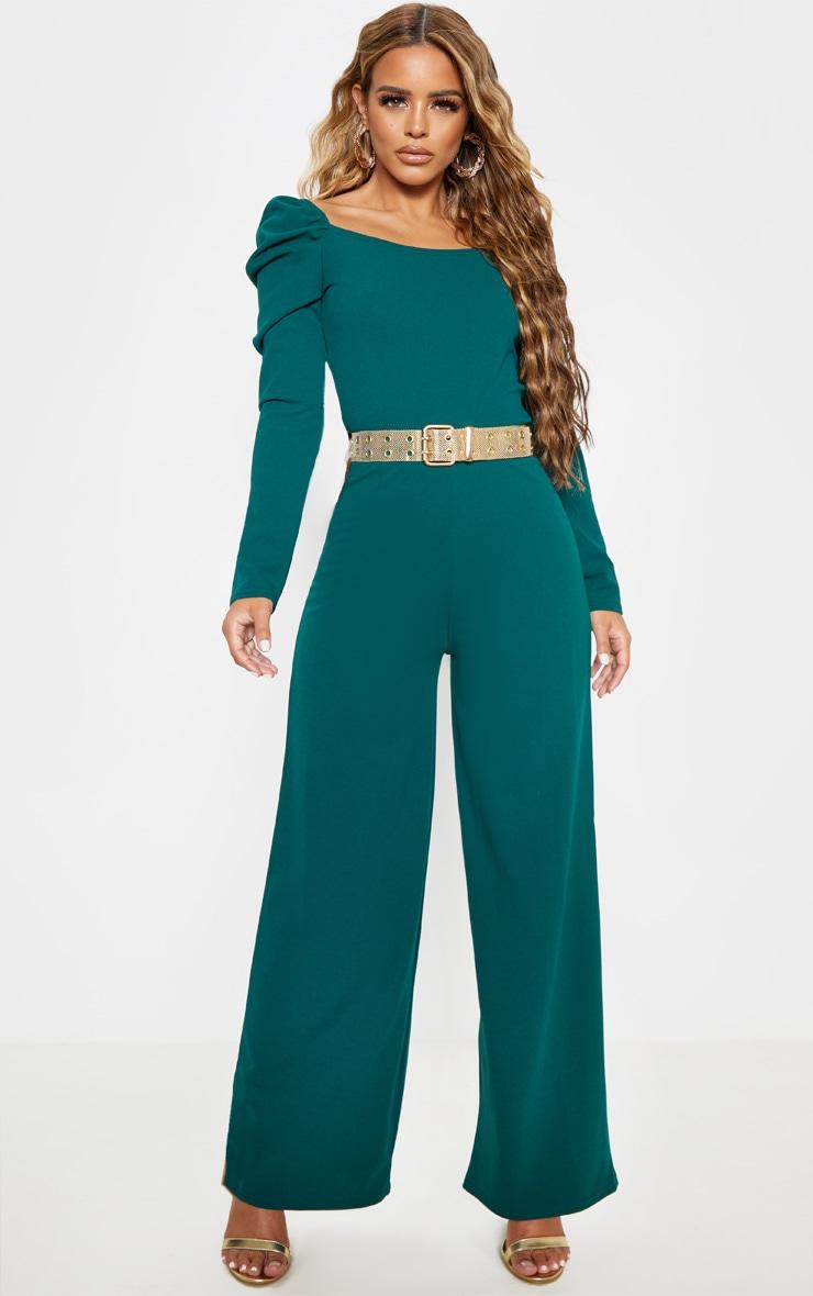 Petite Emerald Green Puff Sleeve Wide Leg Jumpsuit  1