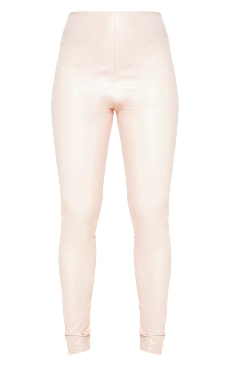 Baby Pink Faux Leather High Waisted Leggings  3