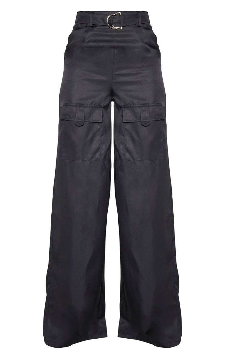 Tall Black Belted Cargo Wide Leg Trouser  3
