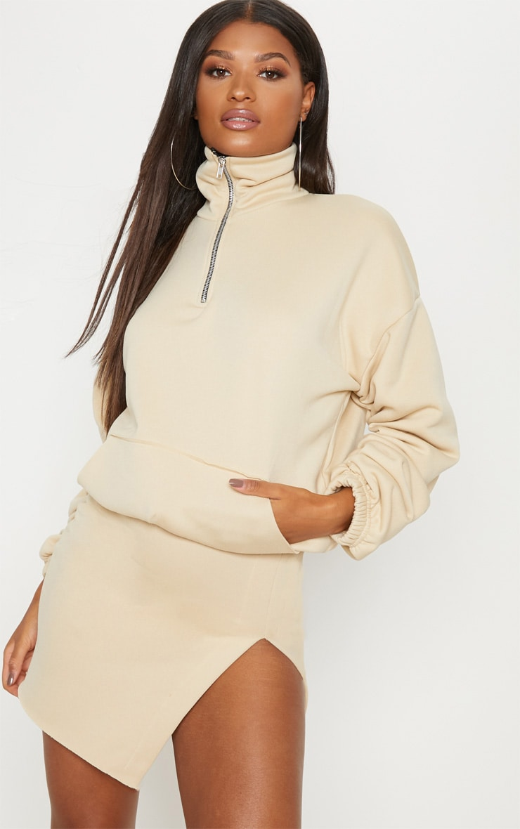 Cream Zip Oversized Ruched Sleeve Sweater 1