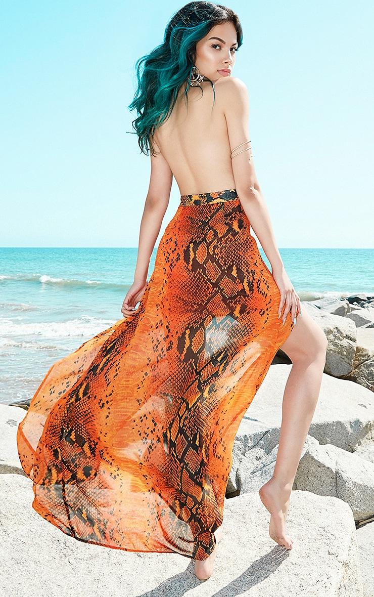 Leala Orange Snake Print Maxi Dress 2