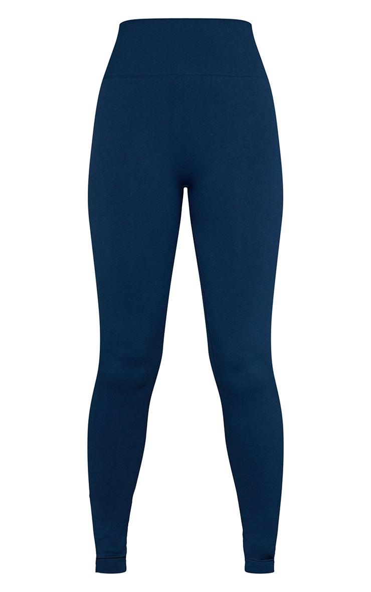 Navy Basic Seamless High Waist Gym Leggings 5