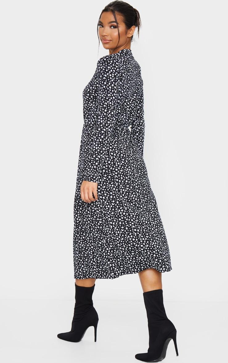 Robe mi-longue côtelée à imprimé dalmatien noir et manches longues 2