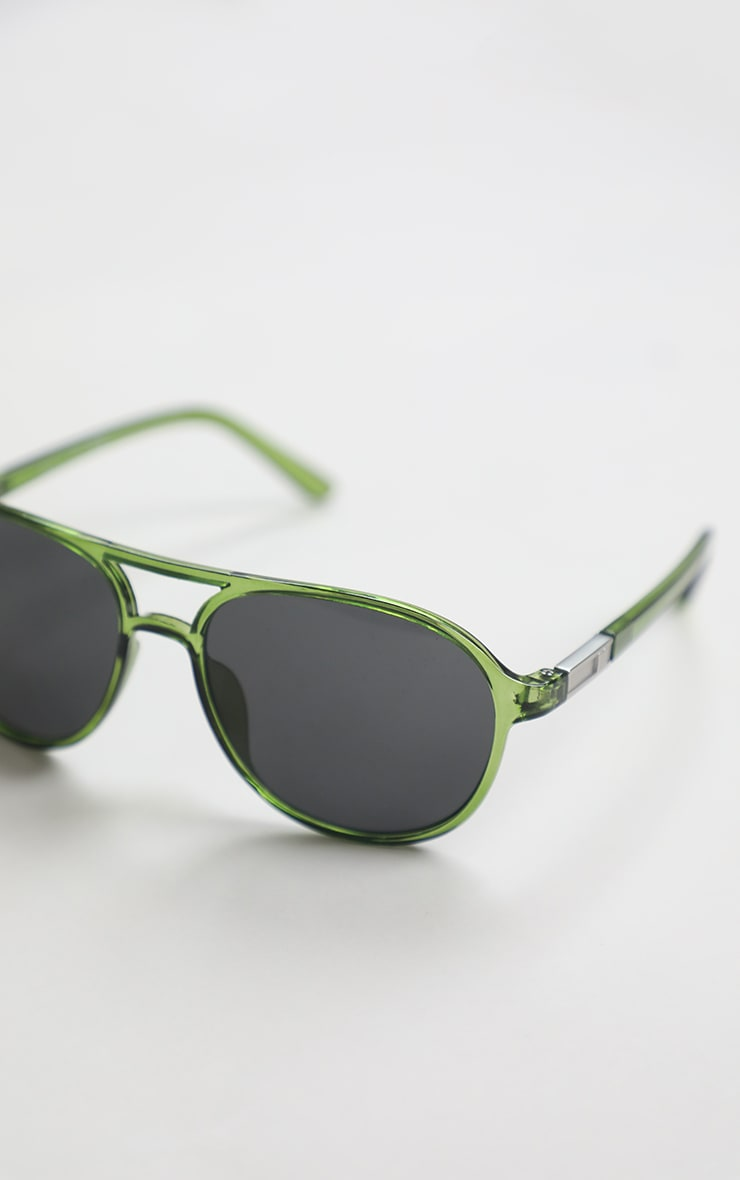 Green Double Bar Round Frame Sunglasses 2