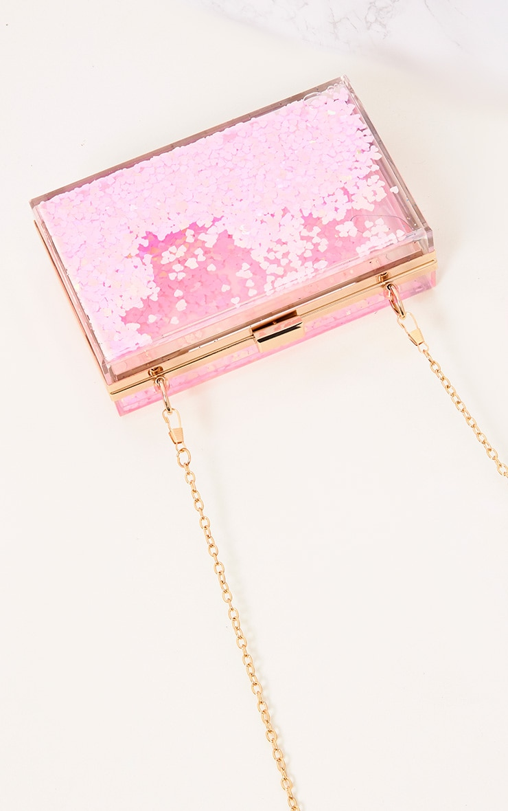 Pink Sequin Clear Box Clutch 5