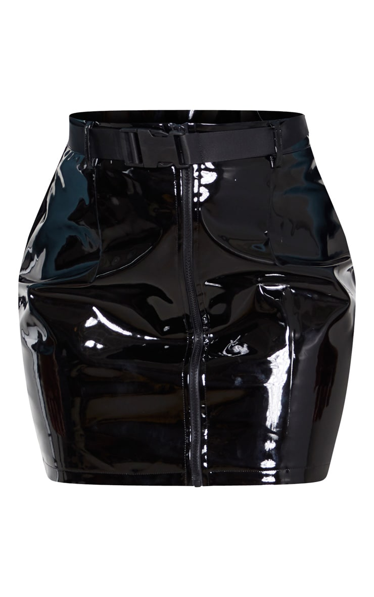 Black Vinyl Zip Front Belted Mini Skirt 3