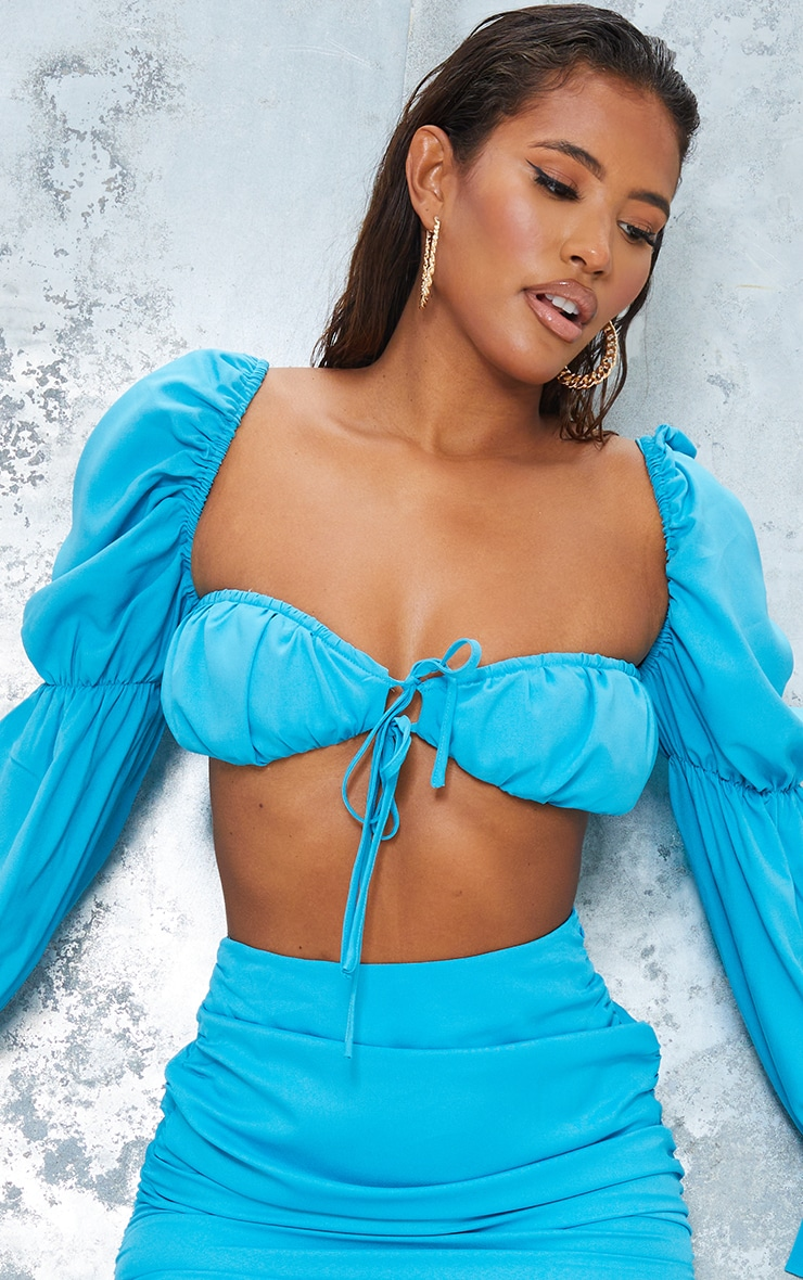 Bright Blue Woven Cinched Puff Long Sleeve Tie Front Bralet 4