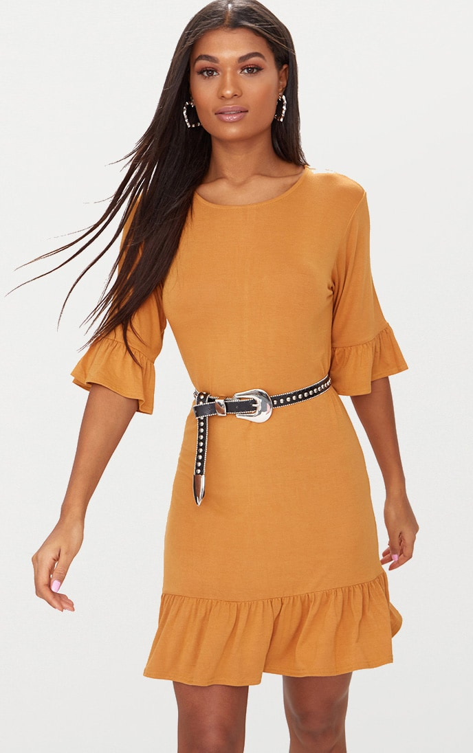 Mustard Jersey Frill Hem Shift Dress 1
