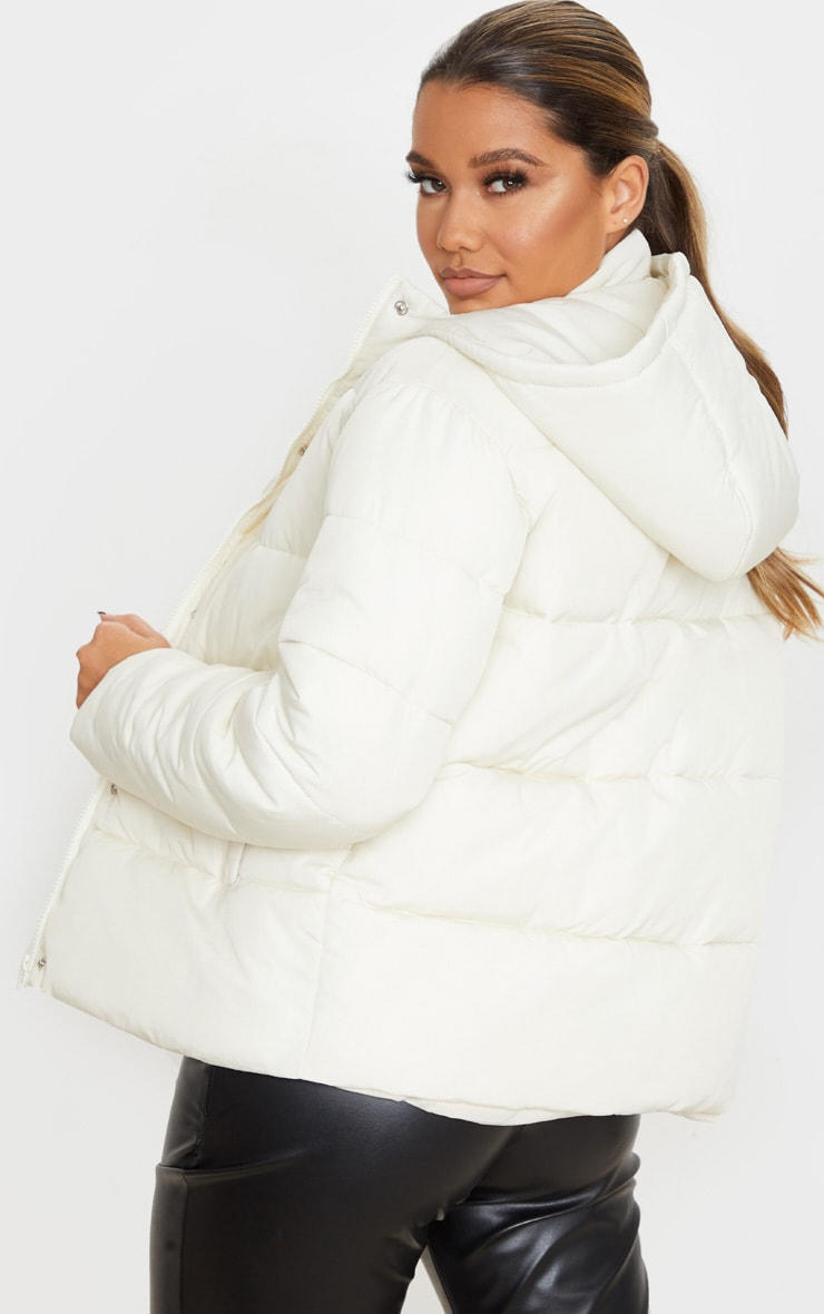 Cream Peach Skin Hooded Puffer Jacket 2