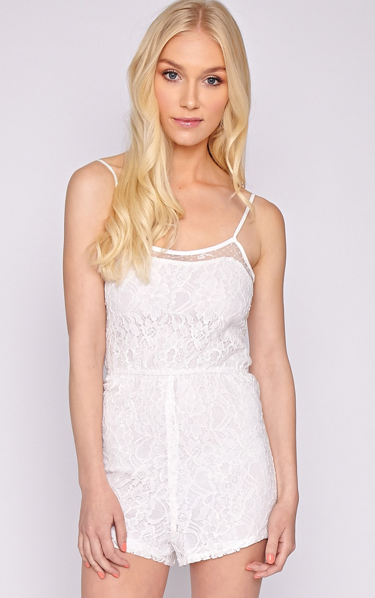 Jolie White Lace Strappy Playsuit  1