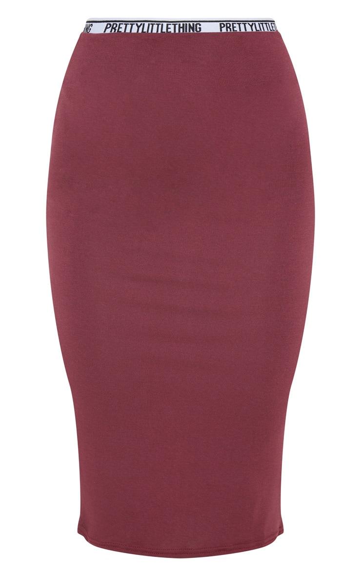 PRETTYLITTLETHING Maroon Midi Skirt 3