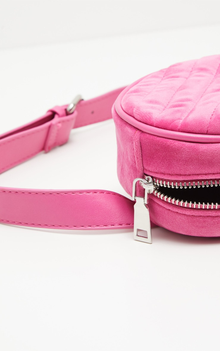 Pink Velvet Chevron Quilted Bum Bag 5