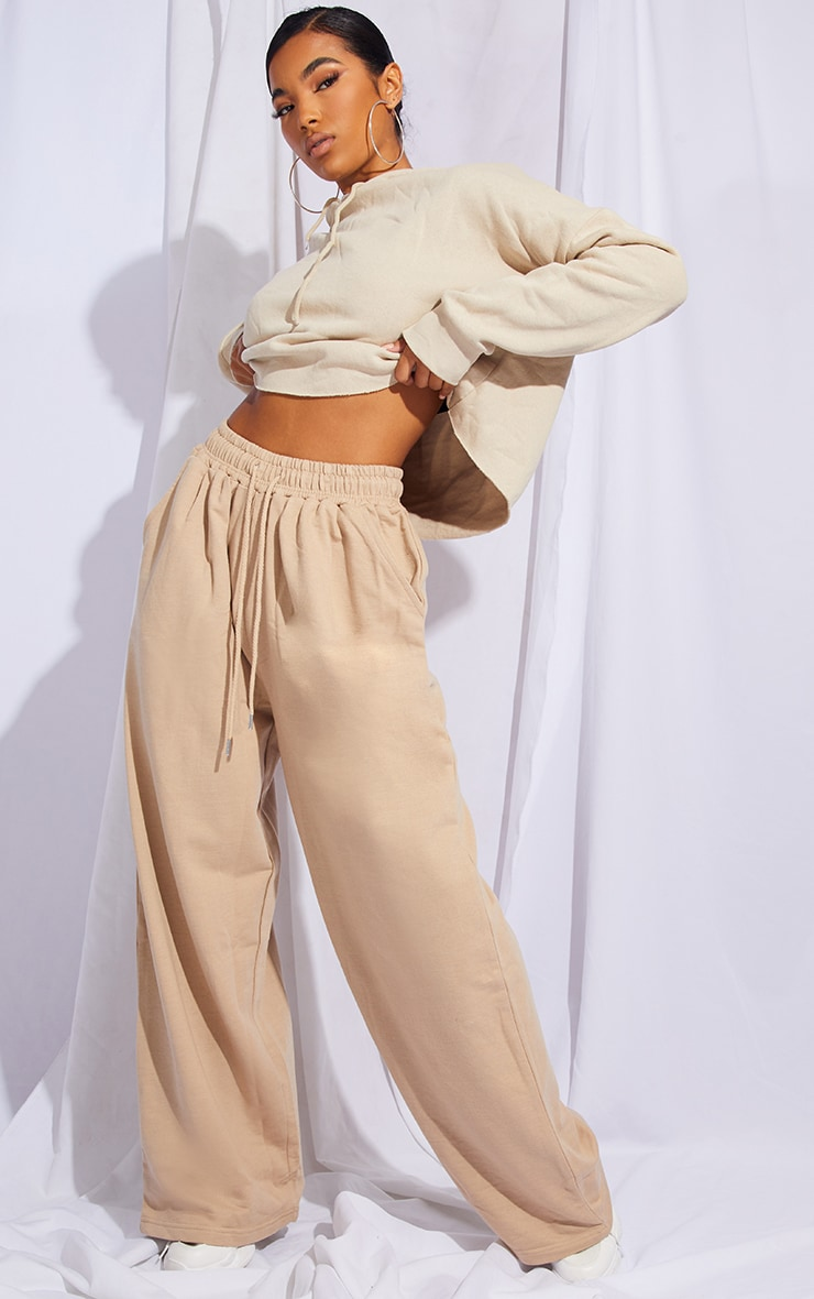 Stone Drawstring Slouch Wide Leg Trousers 1