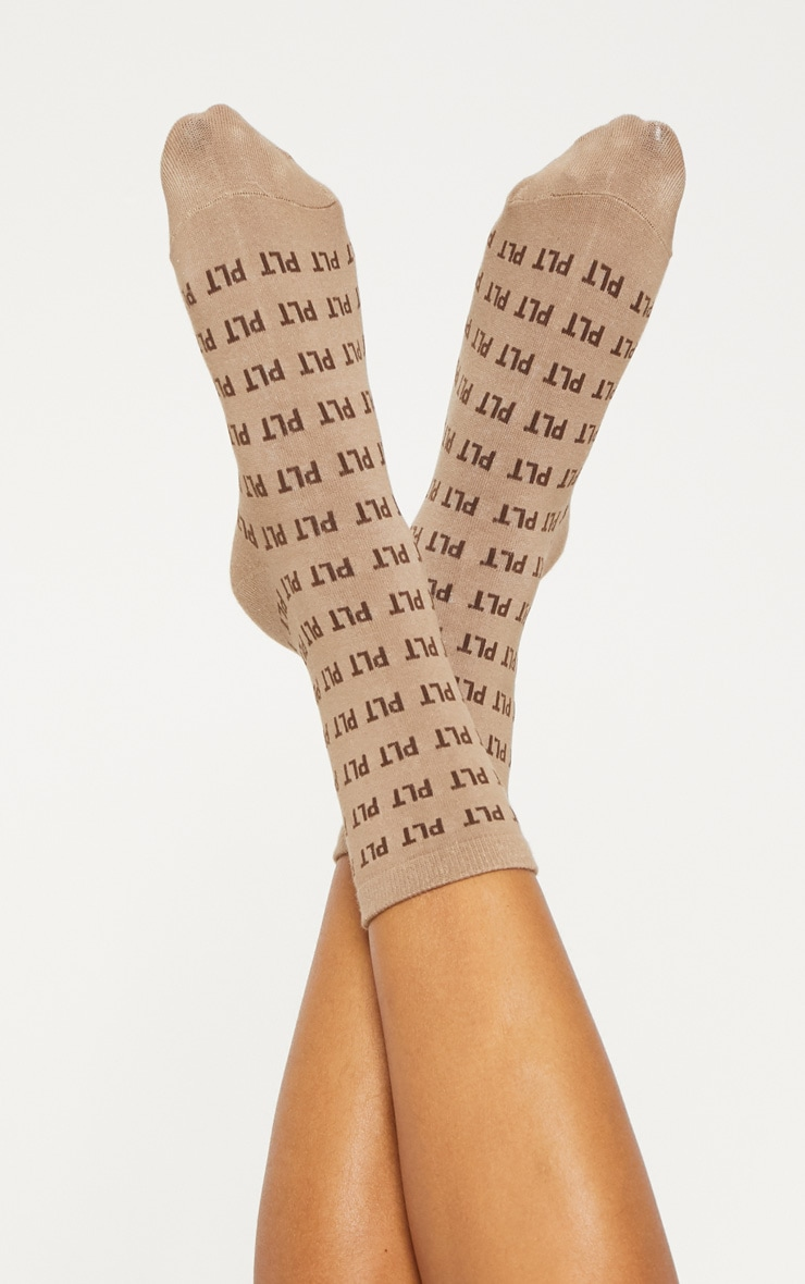 PRETTYLITTLETHING Light Brown Mono Ankle Socks 1