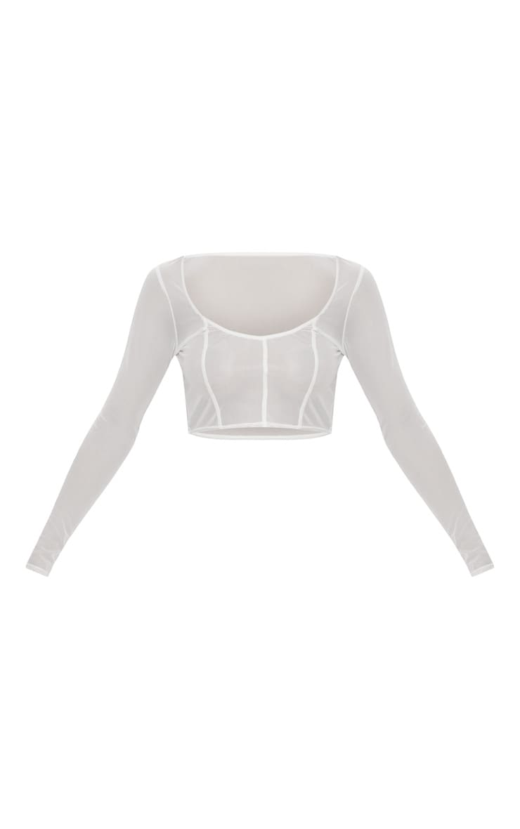 White Mesh Long Sleeve Seam Detail Crop Top  3