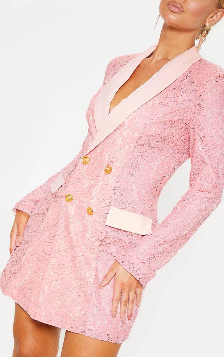 Dusty Pink Lace Gold Button Blazer Dress 4