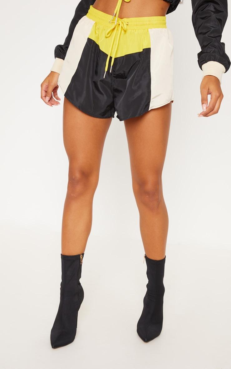 Cream Colour Block Shell Suit Short 2