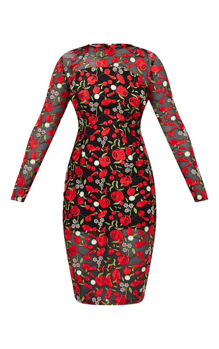 Red Embroidered Floral Sheer Lace Midi Dress 3