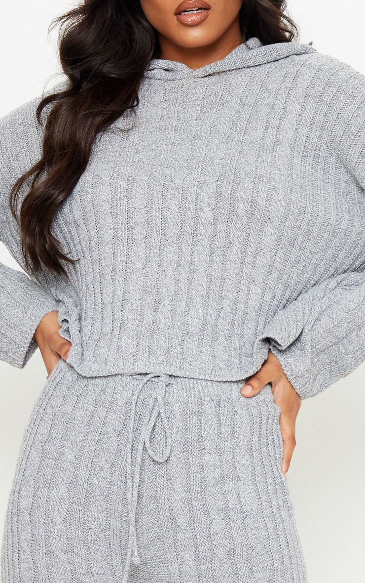 Grey Cable Knitted Hooded Lounge Set 5