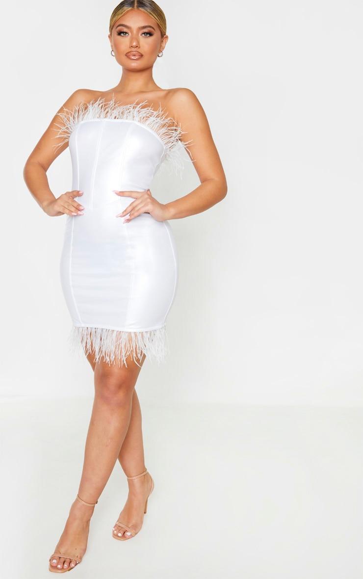 White Vinyl Feather Trim Bandeau Bodycon Dress 1