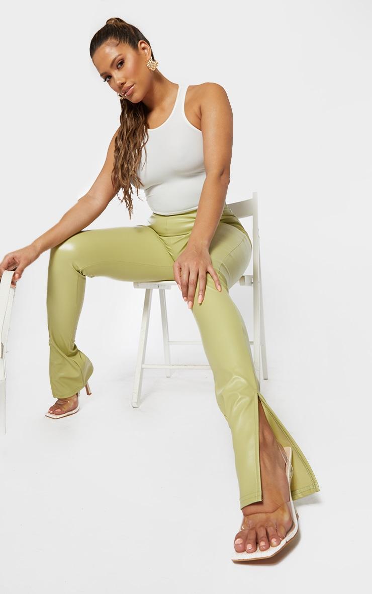 Shape Lime PU Split Hem Pants 1