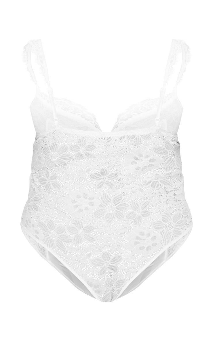 Plus White Lace Mesh Stripe Bodysuit 3