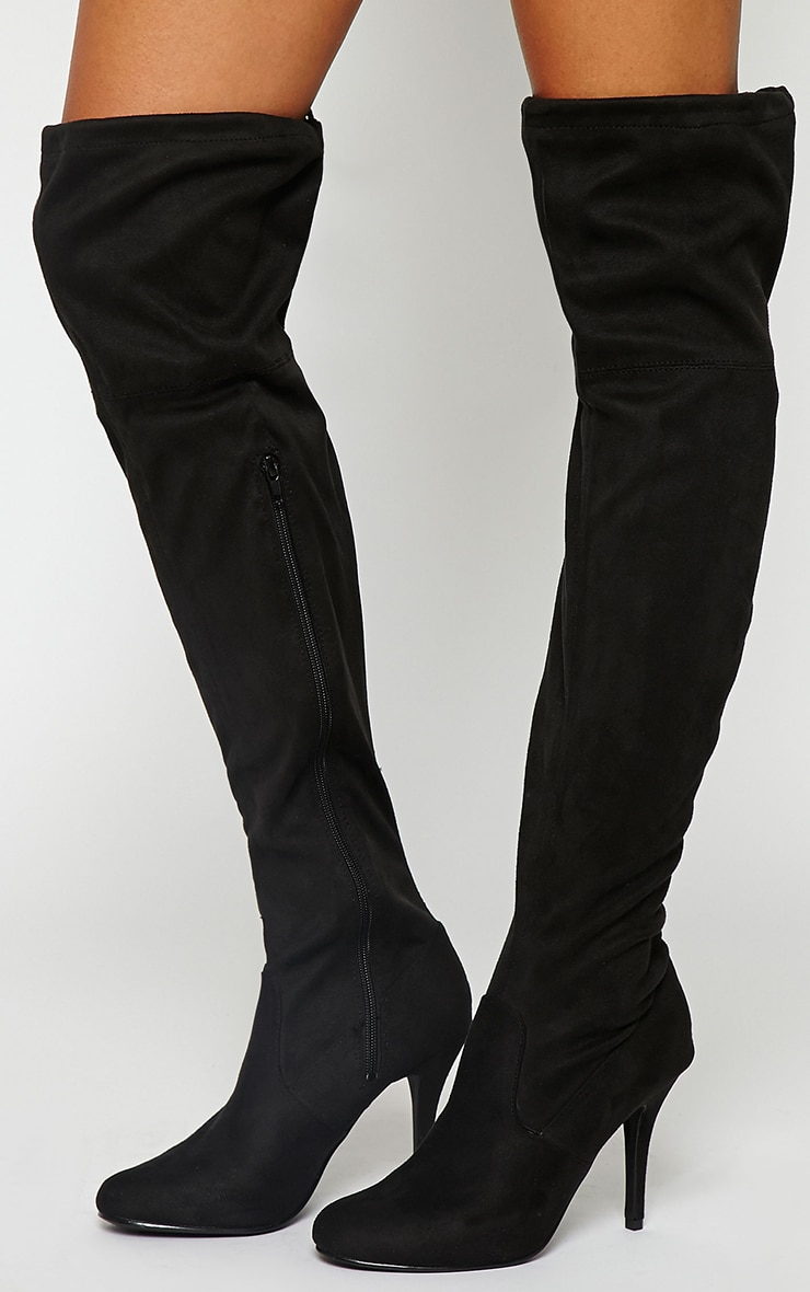 Ayanna Black Suedette Over The Knee Heeled Boots 3