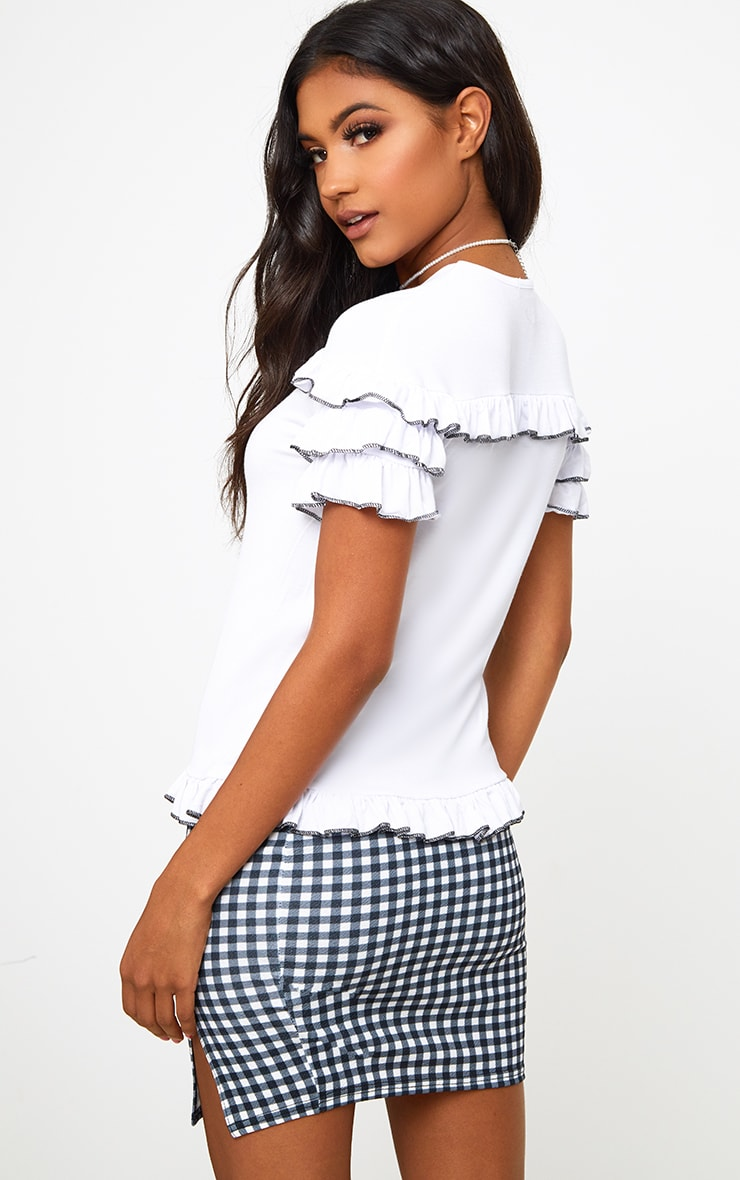 White Frill Contrast Edge T Shirt 2