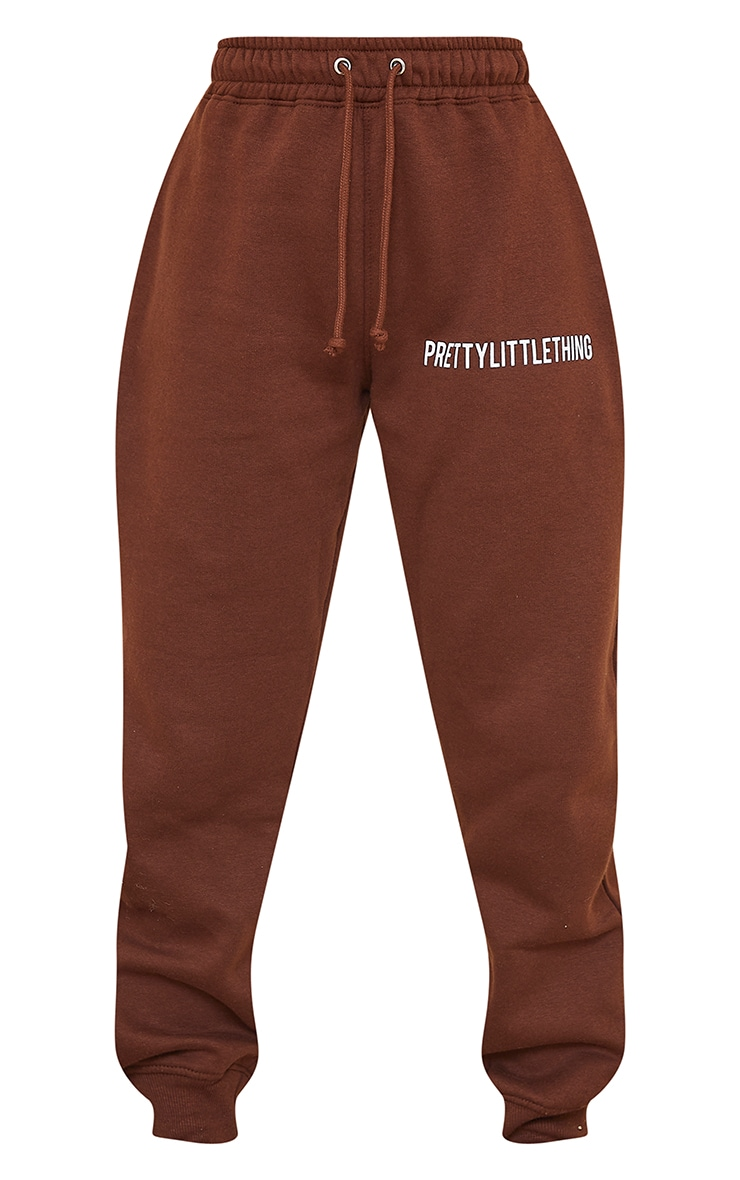 PRETTYLITTLETHING Chocolate Brown High Waisted Joggers 5