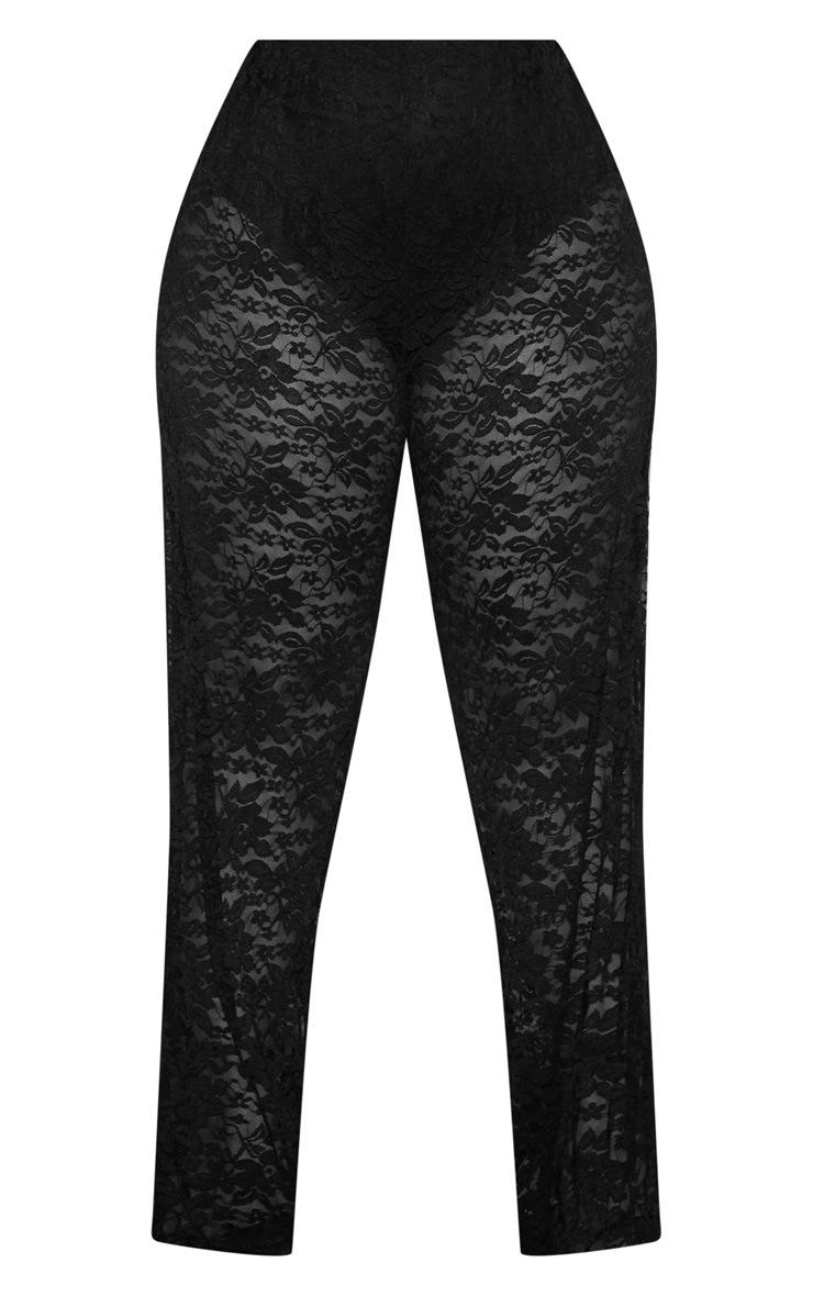 Plus Black Lace Wide Leg Trousers 5