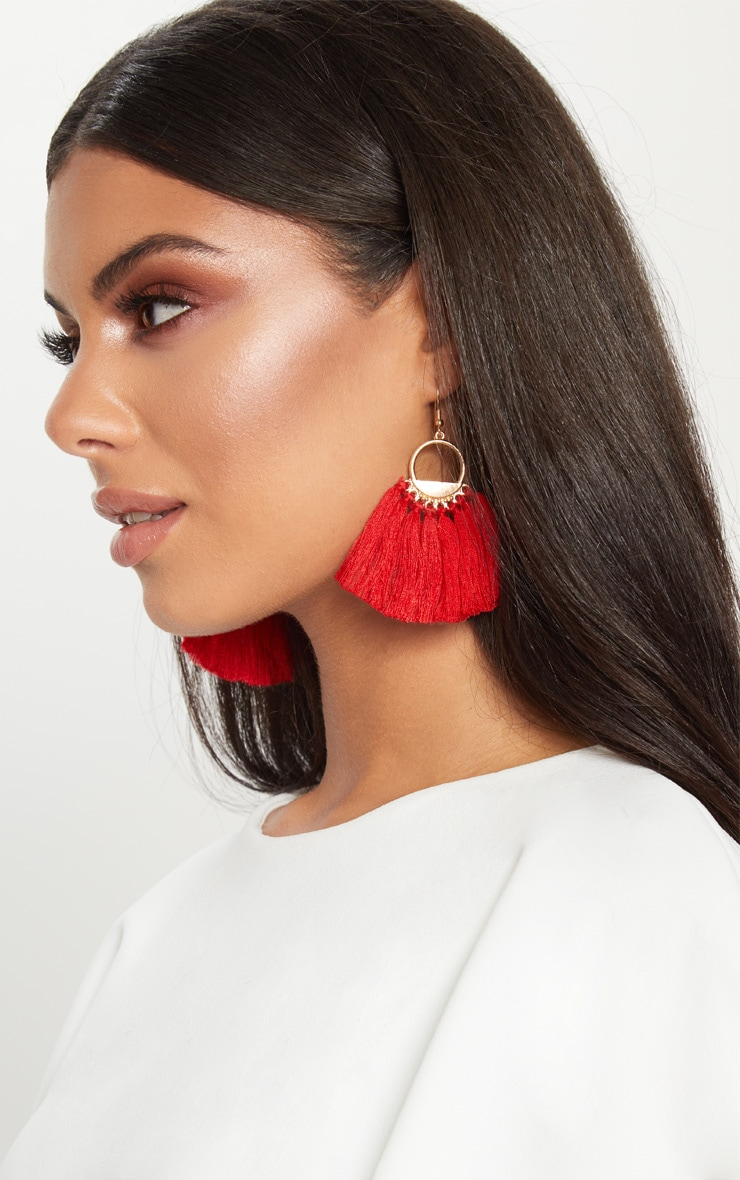 Red Tassel Hoop Earrings 2