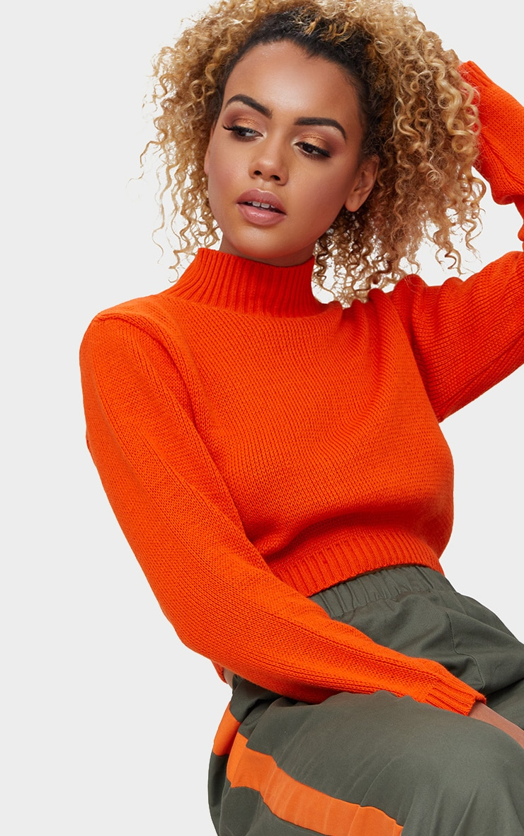 Orange High Neck Soft Knit Cropped Sweater 5