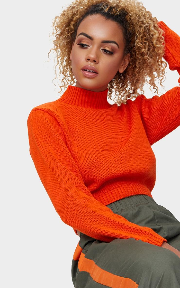 Orange High Neck Soft Knit Cropped Sweater 5
