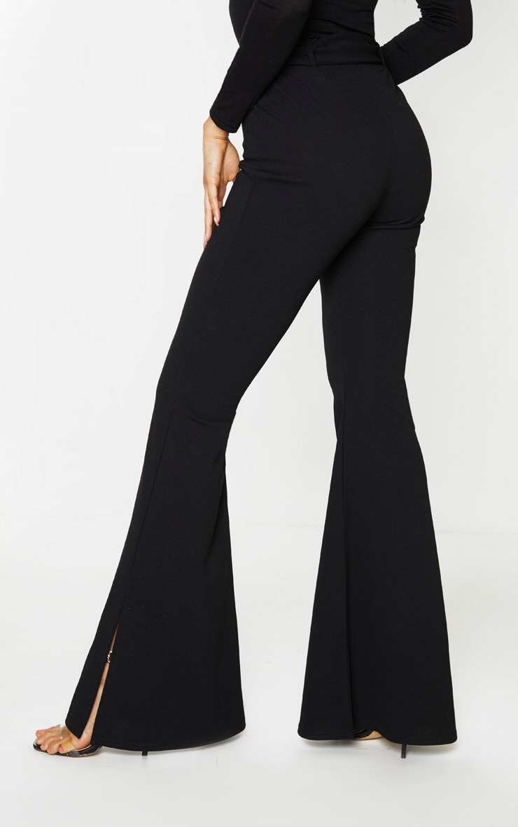 Tall Black Crepe Belt Detail Trousers 4