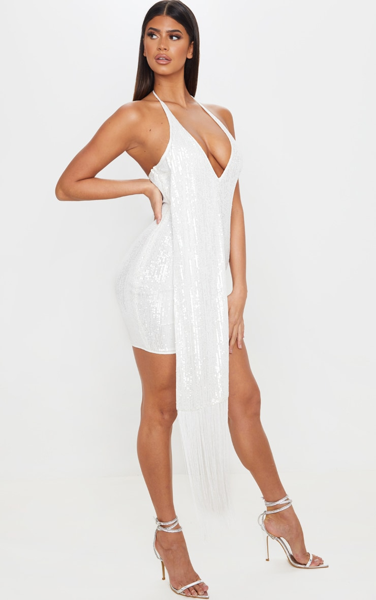 White Sequin Halterneck Tassel Drape Bodycon Dress 3