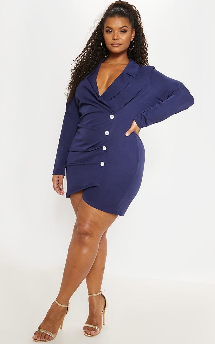 Plus Navy Ruched Detail Contrast Button Blazer Dress 1