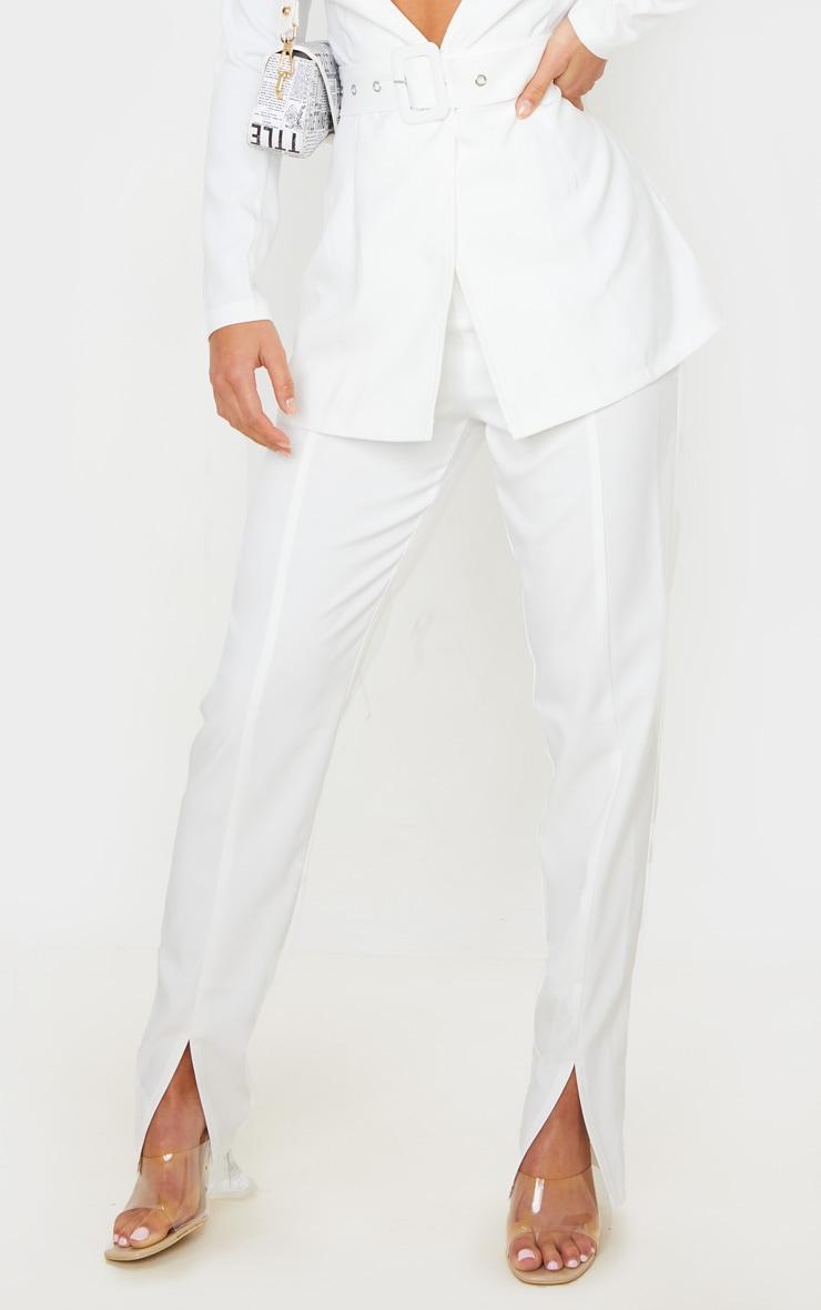 Petite Cream Split Hem Woven Suit Pants 2
