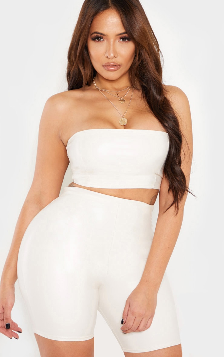Shape Cream PU Seam Detail Bandeau Top 1