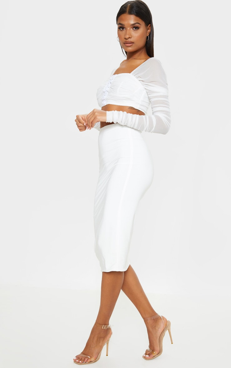 Aidy White Slinky Long Line Midi Skirt  5