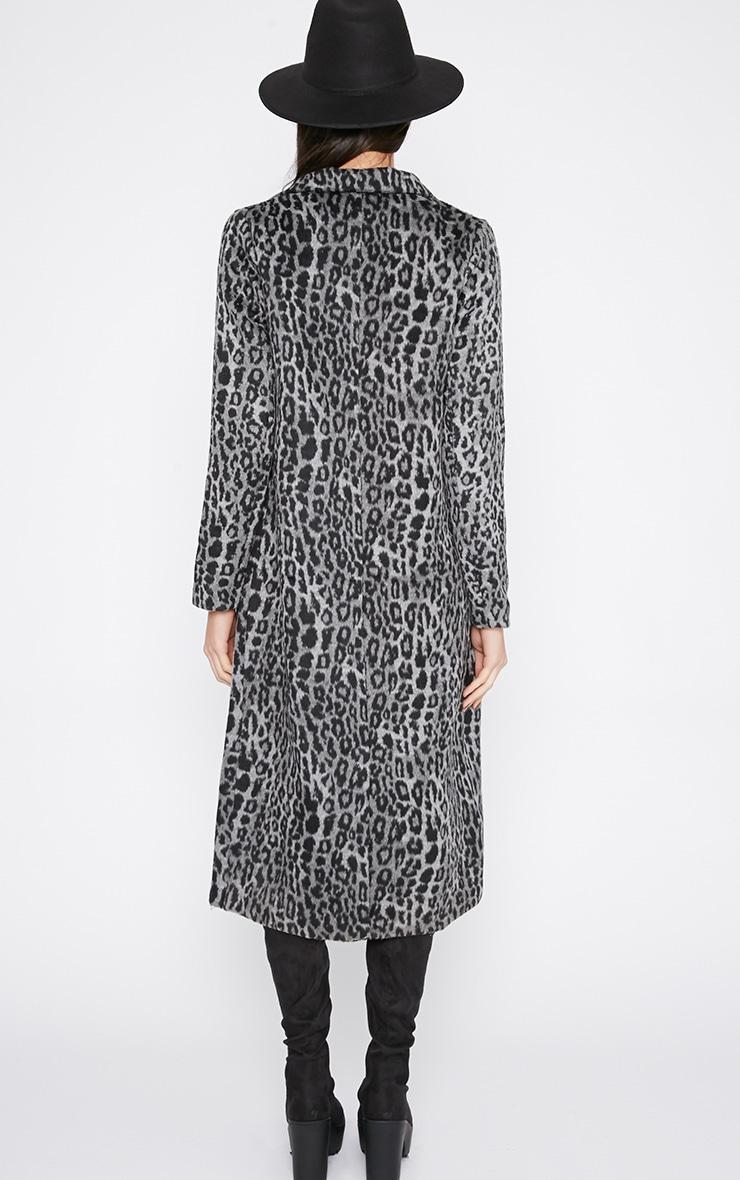 Tansy Charcoal Leopard Longline Coat  2