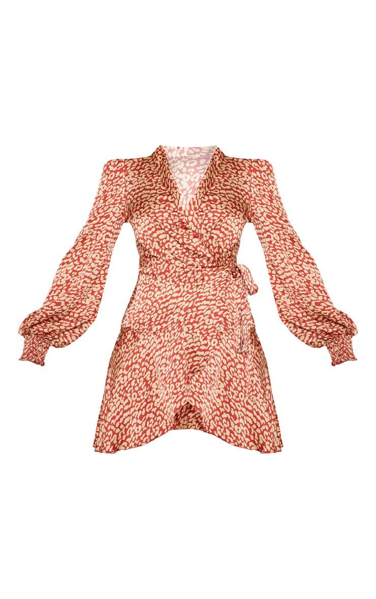 Robe droite rouge imprimé léopard à ourlet volanté 3