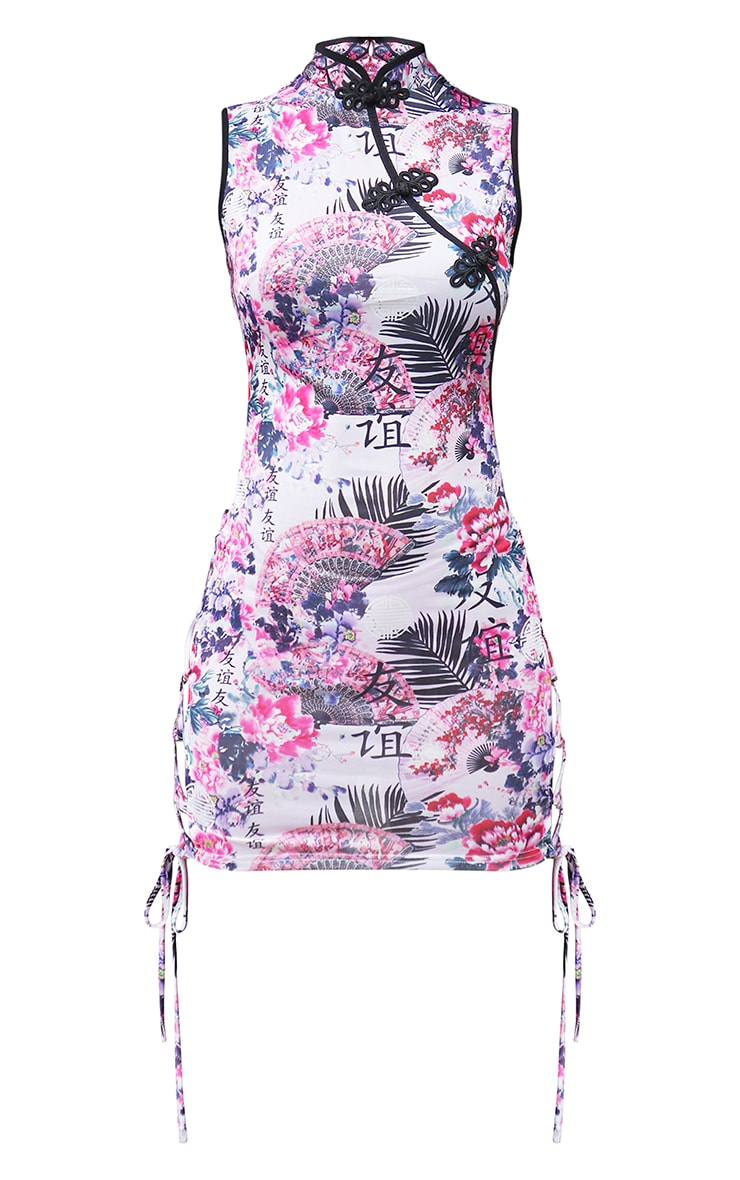 Lilac Satin Floral Print Lace Up Bodycon Dress 5