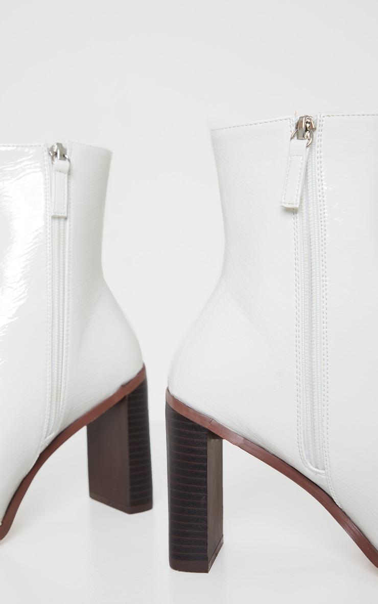 White Patent Flat Heel Square Toe Sock Boot 4